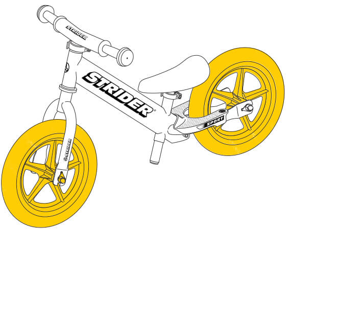illustration Strider 12 Sport balance bike wheels