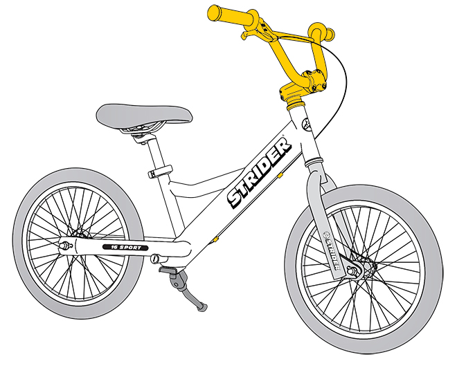 16 Sport Diagram line drawing - handlebar and brake highlighted