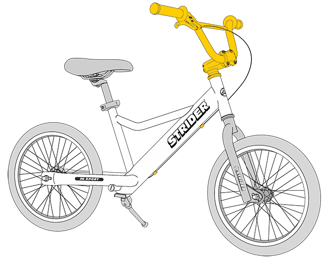 20 Sport Diagram line drawing - handlebar and brake highlighted