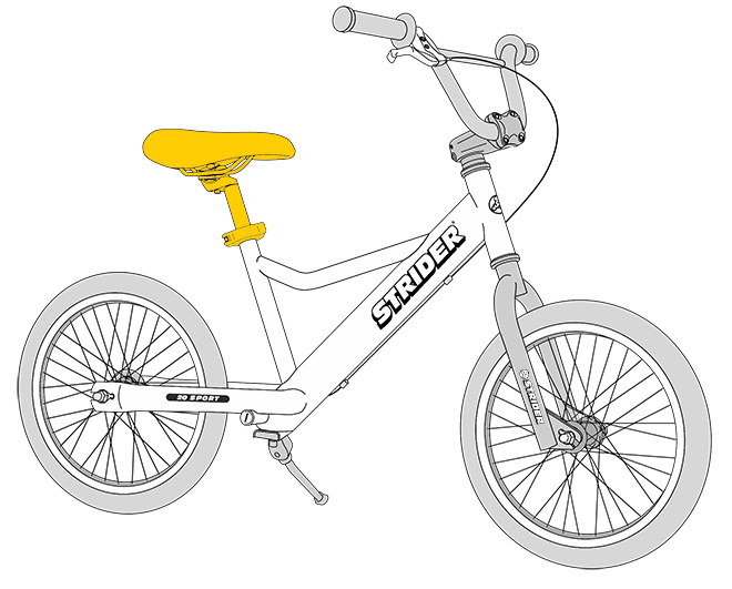 20 Sport Diagram line drawing - seat highlighted in yellow