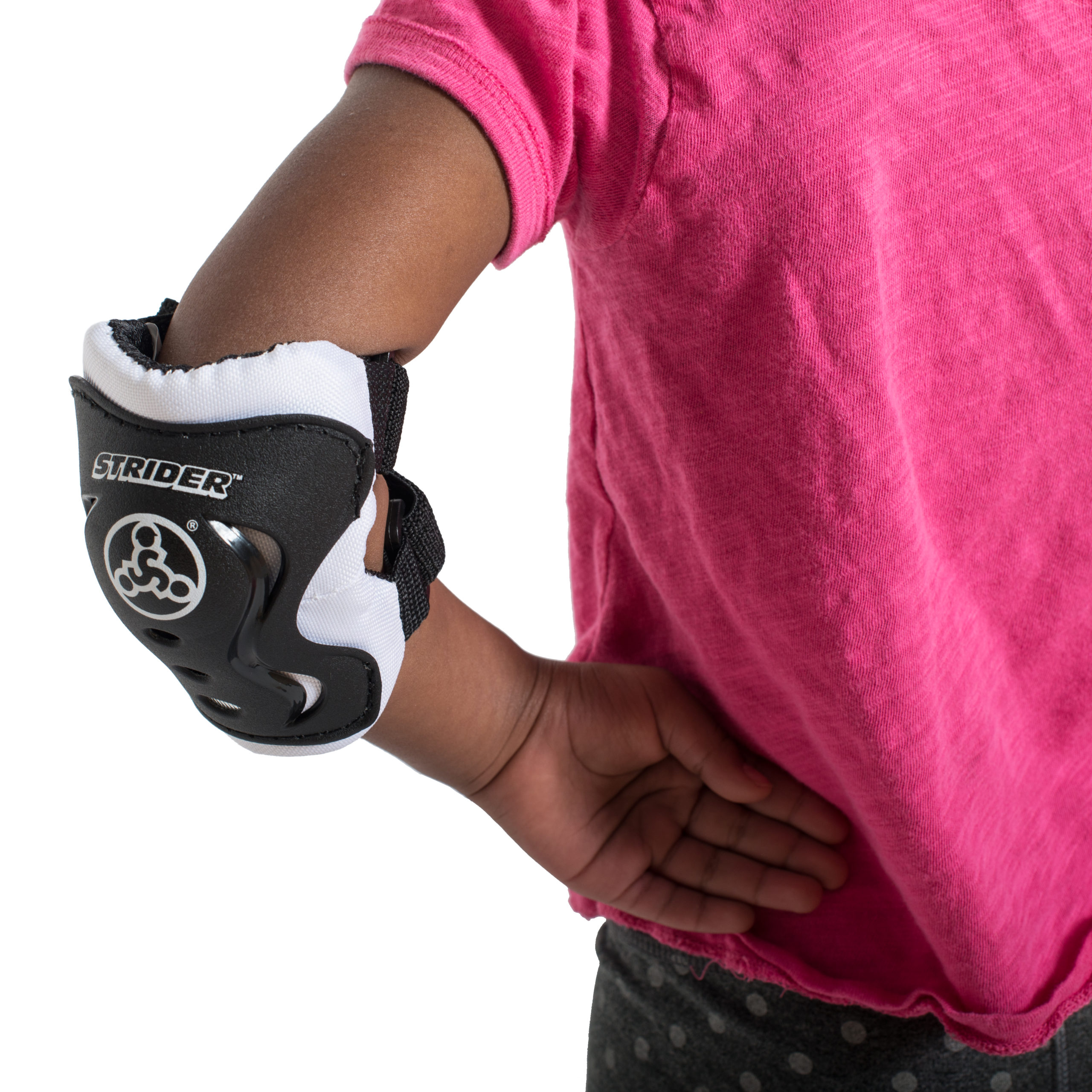 Studio image of elbow pad on girl