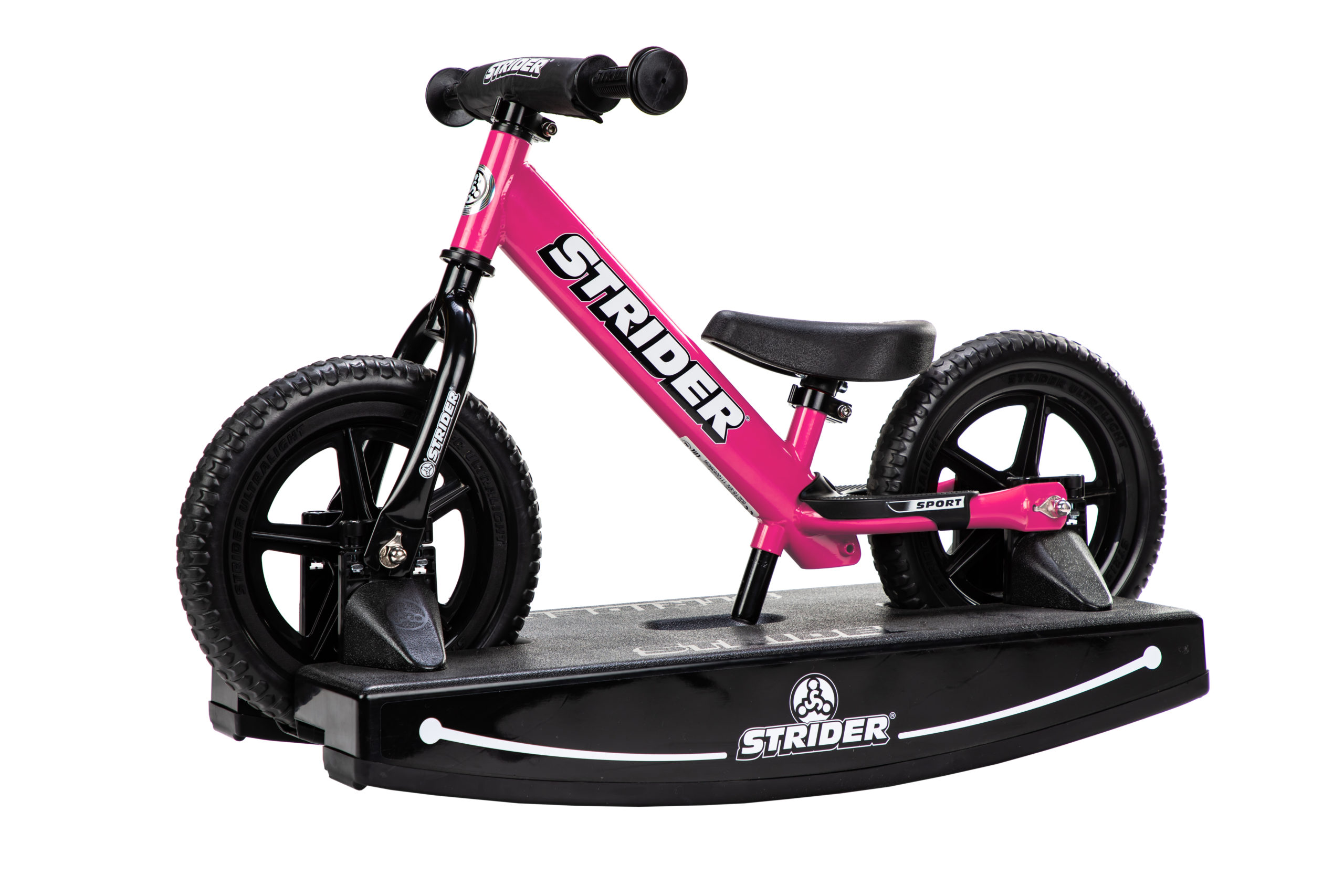 Studio Image of pink 12 Sport 2-in-1 Rocking Bike