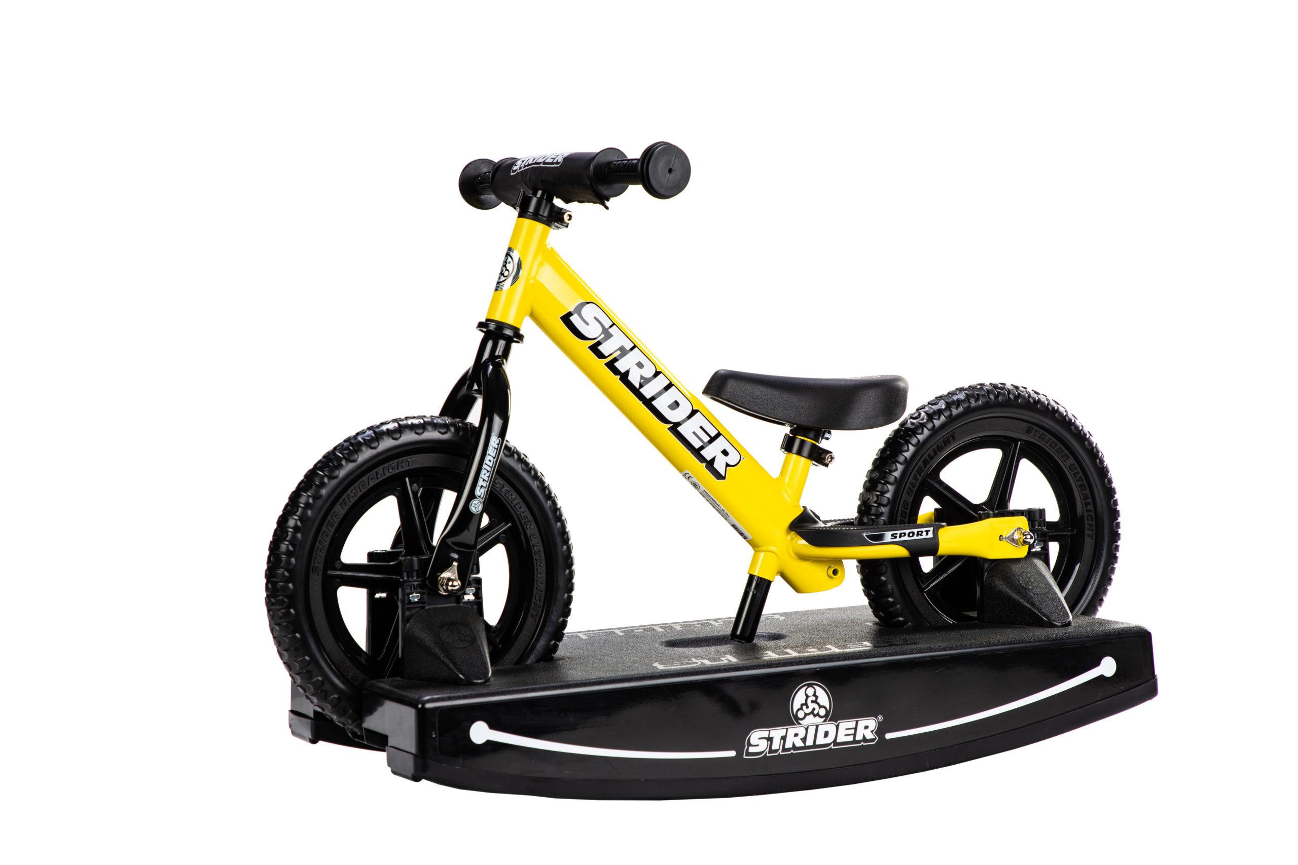 Studio Image of yellow 12 Sport 2-in-1 Rocking Bike