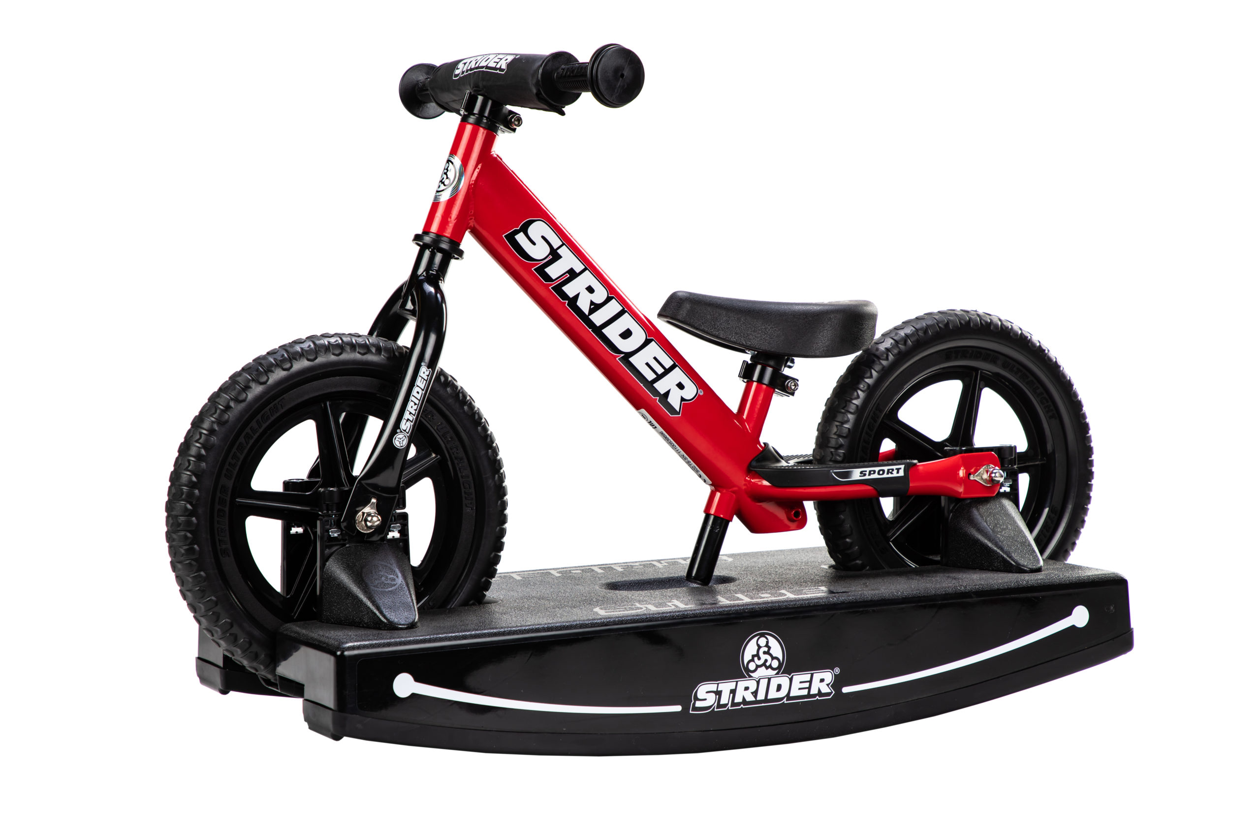 Studio Image of red 12 Sport 2-in-1 Rocking Bike