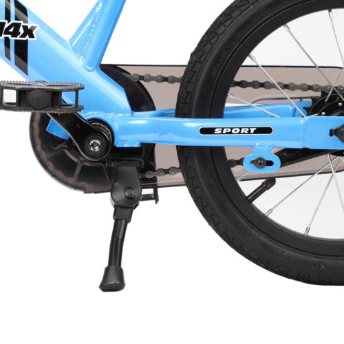 Studio image of blue 14x Sport with kickstand - close-up